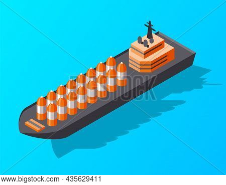 Isometric Container Cargo Ship. Delivery On Water. Shipping Freight Transportation. Vector Isometric