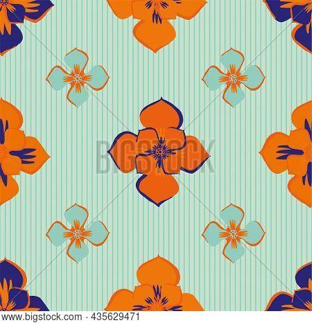 Medieval Rose Vector Pattern Seamless Background. Azulejo Tile Style Neon Orange Blue Indigo Backdro