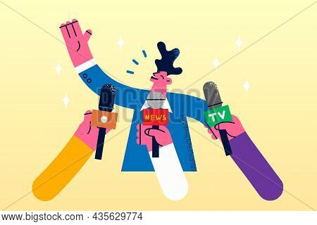 Politician, Star Or Public Speaker Concept. Young Smiling Man Cartoon Character Standing Answering Q