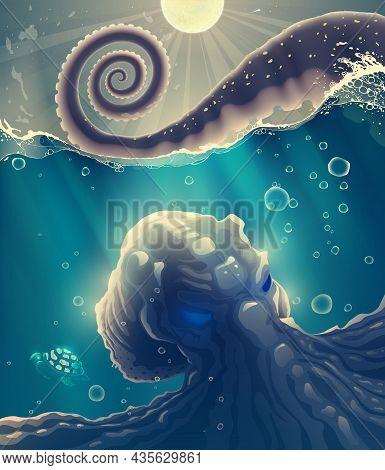 Under Water Sea Devil Or Octopus Monster In Blue Water With Waves, Splashes, Ocean Deep Dark Space W