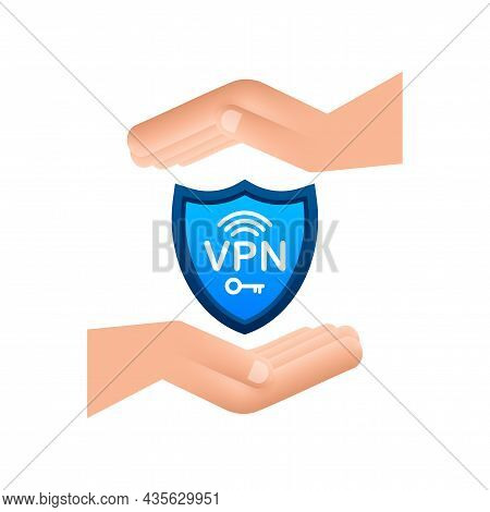 Secure Vpn Connection Concept With Hands. Hnads Holding Vpn Sign. Virtual Private Network Connectivi