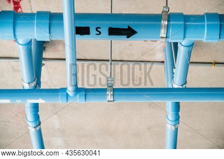 Sanitary Work And Installation Of Blue Pvc Pipes For The Construction Of Residential Buildings And L