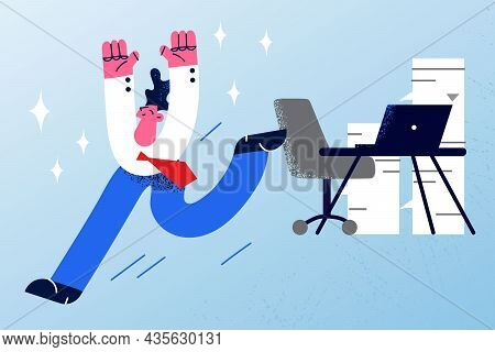 Business Success, End Of Working Day Concept. Young Smiling Happy Businessman Office Worker Running