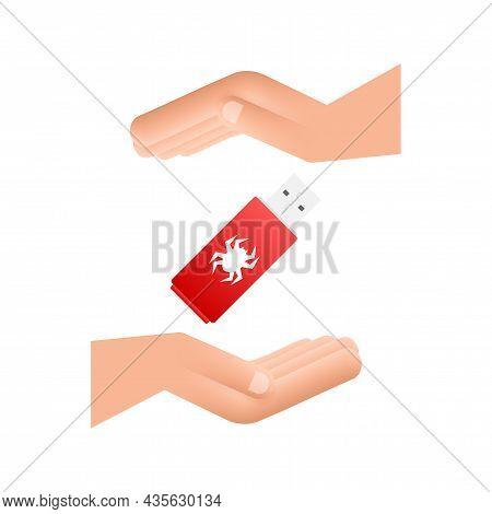 Computer Virus On Usb Flash Card In Hands. Virus Protection. Vector Stock Illustration.