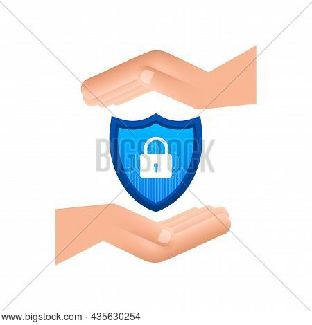 Cyber Security Vector Logo With Shield And Check Mark. Hands Holding Cyber Secure Sign. Internet Sec