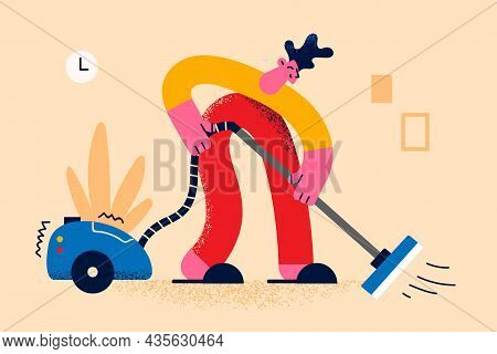 Housework And Cleaning Home Concept. Young Smiling Man Cartoon Character Cleaning Floor Carpet With