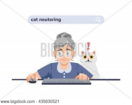 Old, Elderly Woman, Grandmother At The Computer Is Looking For Information About Cat Neutering, Cast