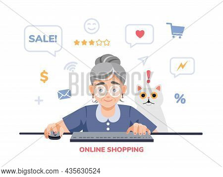 A Happy Excited Old, Elderly Woman, Retired, Grandmother Is Shopping Online On The Computer, Laptop