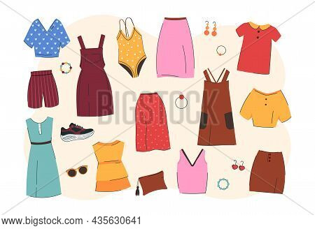 Summer Fashion Clothes. Colorful Stickers With Short, Dresses, Shirts And Swimsuits. Fashionable Com