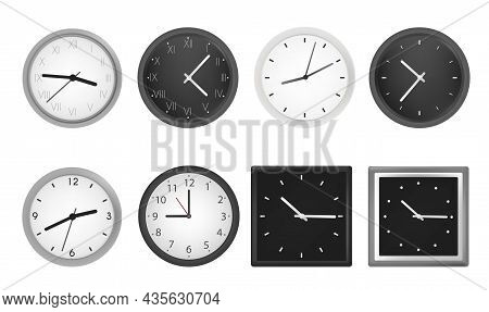 Realistic Clock Set. Elegant Watch With Black Or White Dial, Matte Frame And Hands. Device That Show