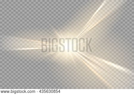 Special Lens Flash, Light Effect. The Flash Flashes Rays And Searchlight. Illust.white Glowing Light