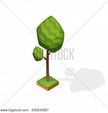 Set Of Various Type Wood Isolated On White Background. Green Plant For Isometric Landscape Public Pa