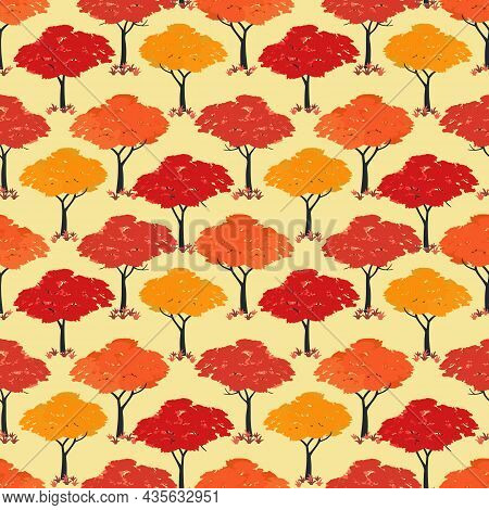 Autumn Maple Trees Fall Season Seamless Vector Pattern. Beautiful Autumnal Nature Forest Cartoon Wal