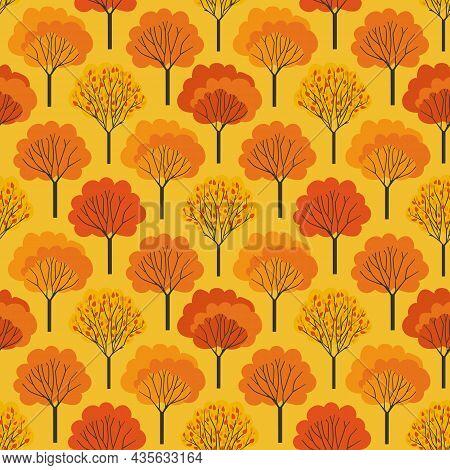Autumn Trees Fall Colors Seamless Vector Pattern. Fall Season Woodland Decorative Background Illustr