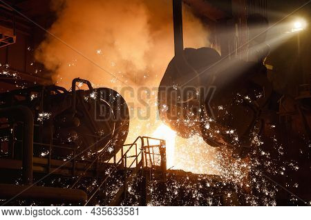 Liquid Steel Is Poured From A Metallurgical Ladle.