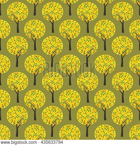 Autumn Park Fall Trees Vector Seamless Pattern. Fall Season Woodland Decorative Background Illustrat