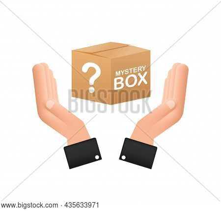 Mystery Box With Hands. Packaging For Concept Design. Surprise Present. Package Design. Help Symbol.