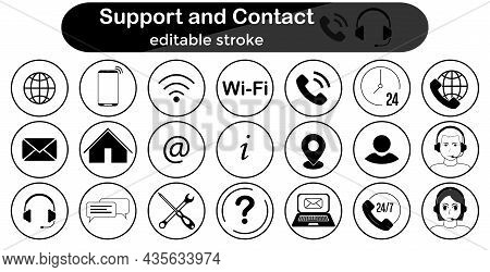 Support And Contact Icons Set. Icon Collection - Email, Online Support, Info, 24 Hour Service, Simpl
