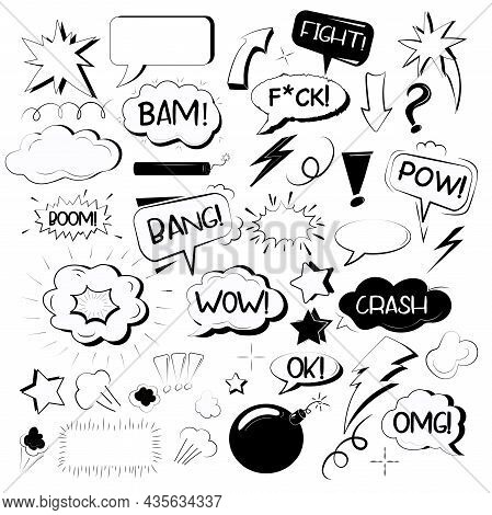 Set Of Hand Drawn Explosion, Wording Sound Effect,bomb Element. Comic Doodle In Pop Art Sketch Style