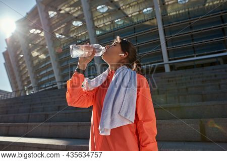 Sporty Fit Sportswoman Relax Take Break From Workout Drink Clean Clear Water From Bottle. Active Ton