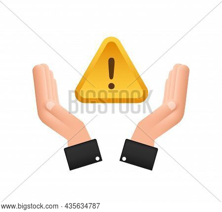 Banner With Yellow Scam Alert Over Hands. Attention Sign. Cyber Security Icon. Caution Warning Sign