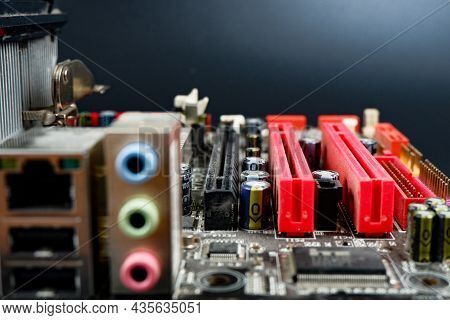 A Fragment Of The Motherboard Of A Personal Computer.information Technology.