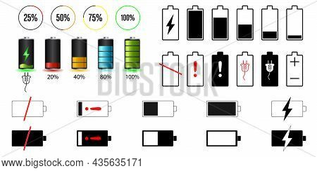 Battery Charge Indicator Icon Set. Charging Level Vector Icon Battery Power Powerfully Full Fun Runn