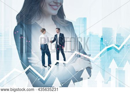 Office Woman With Arms Crossed, Woman And Man Shaking Hands In Office Room. Double Exposure With Whi