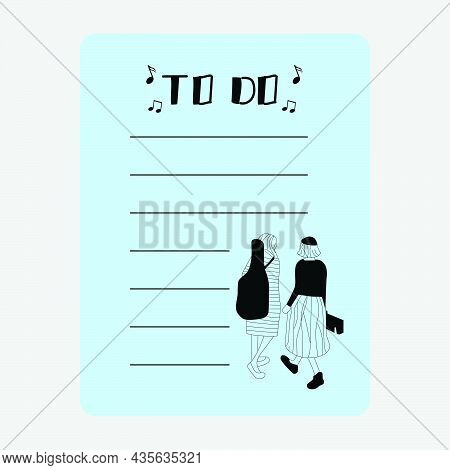 Noted Paper With Illustration Street Musician Design