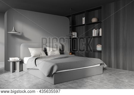 Dark Bedroom Interior With Bed And Pillows, Concrete Floor And Coffee Tables With Lamps. Mockup Copy