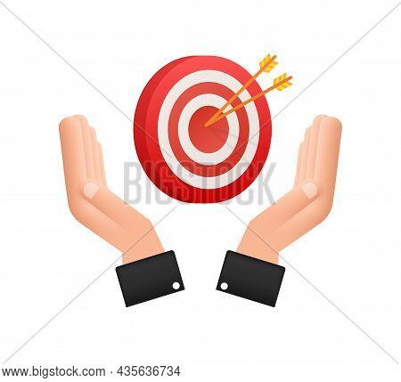Target With An Arrow On Hands Flat Icon Concept Market Goal Vector Picture Image. Concept Target Mar