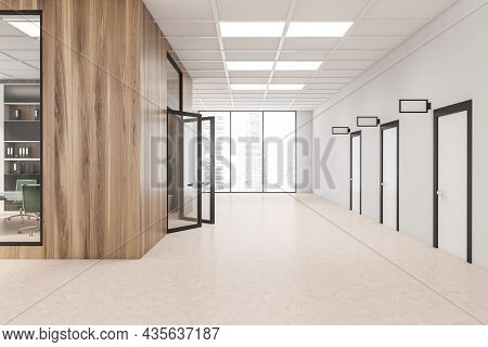 White Corridor Interior With Wood Walls, Frame And Glass Details. Three Doors With Original Design O