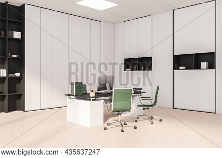 View Of The White And Beige Office Interior With Green Rolling Chairs, A Corner Office Wardrobe And
