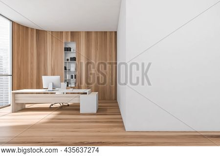 Light Wooden Manager Room Interior With White Table And Desktop, Parquet Floor. Bookshelf And Panora