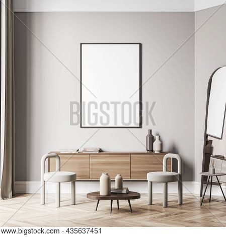 Canvas On Wall Of Light Beige Living Space Interior With Creative Chairs, Oval Wooden Coffee Table A