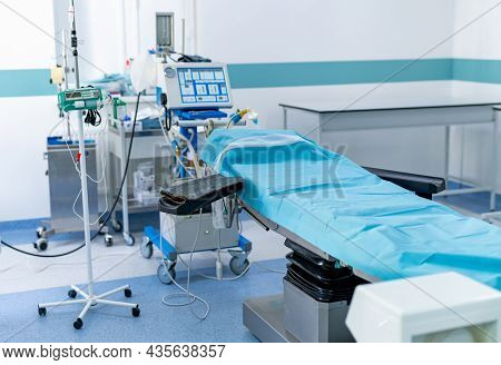 Healthcare Surgery Technologies. Modern Hospital Operation Empty Room. Quarantine Medical Operating
