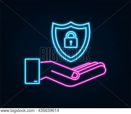 Neon Cyber Security Vector Logo With Shield And Check Mark. Hands Holding Cyber Secure Sign. Interne