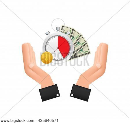 Timer And Money In Hands. Clock And Bag, Time Is Money, Fast Loan, Payment Period, Savings Account.
