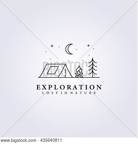 Simple Life Style Adventure Logo Night Tent Outdoor Campfire Vector Illustration Design Icon Symbol