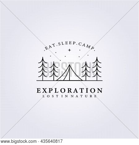 Adventure Life, Camping Forest Wood Logo Vector Illustration Design Icon Symbol Background Template
