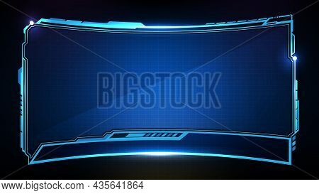 Abstract Futuristic Background Of Blue Glowing Technology Sci Fi Frame Hud Ui Lower Third