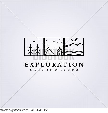 Background Travel Adventure Camping Logo Life Style Vector Icon Symbol Label Sign Abstract Campfire