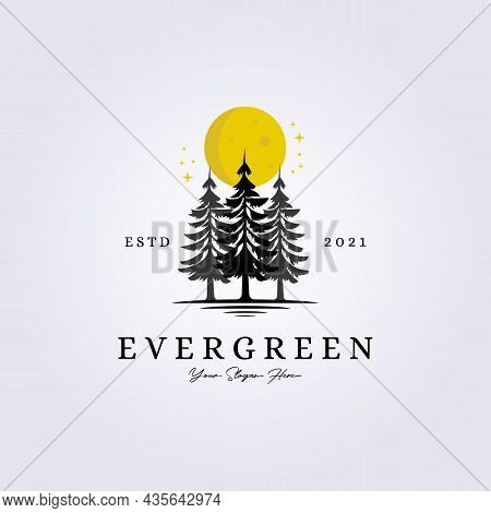 Evergreen, Woodland, Adventure Forest Logo Lake Riverside Creekside Vector Illustration Silhouette V