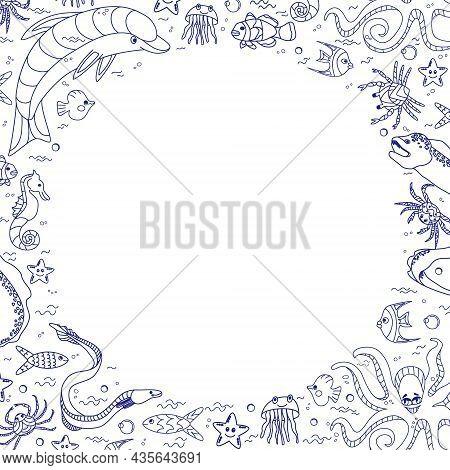 Frame With Cute Cartoon Sea Animals, Doodle. Sea Fish, Crab, Octopus, Jellyfish, Horse. Marine Borde