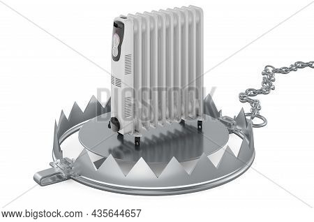 Bear Trap With Oil Heater, 3d Rendering Isolated On White Background