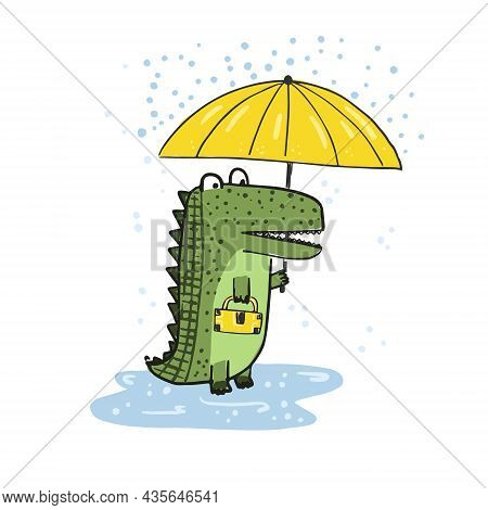 Cute Sketch Hand Drawn Green Color Crocodile With Umbrella Illustration. Bright Rainy Cartoon Childi
