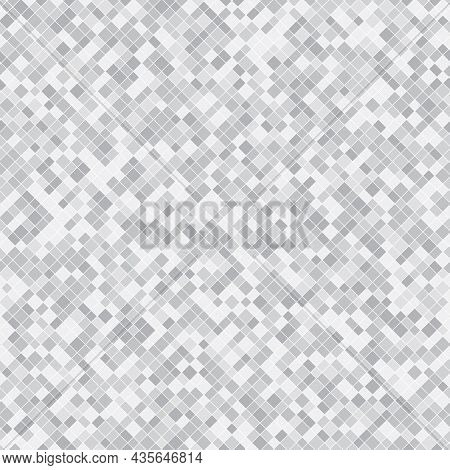 Silver Pixel Background Texture. Vector Abstract Seamless Pattern With Small Gray Squares, Tiny Rect