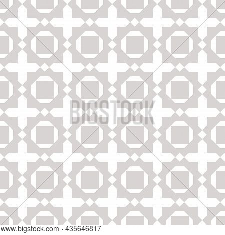 Abstract Geometric Seamless Pattern. Simple Vector Background With Crosses, Squares, Diamonds, Flowe