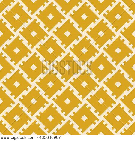 Geometric Traditional Ethnic Pattern. Seamless Tribal Yellow Mustard Square Shapes. Design For Backg