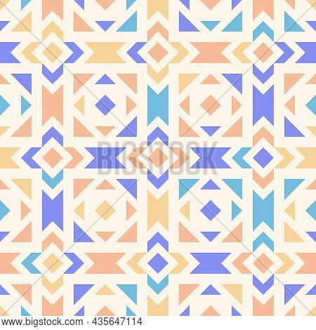 Geometric Seamless Funky Pattern. Abstract Square Background With Lines And Formed Shapes. Colorful